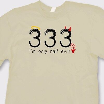 333 Only Half Evil College Humor T-shirt Funny Halloween Angel Devil Tee Shirt ()