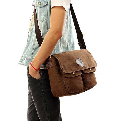 Vintage Men's Canvas Shoulder Bag Crossbody Messenger Flap Bags School Satchel