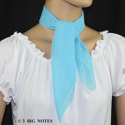 50s Style AQUA BLUE Sheer Chiffon Square Scarf for Poodle Skirt/ Sock Hop - Sock Hop Fashion