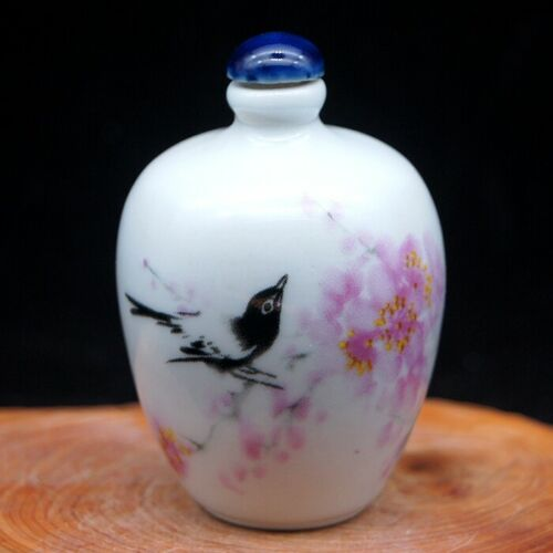 Chinese Collectible Handmade ceramics Flower and Bird porcelain snuff Bottle