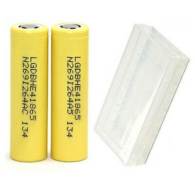 2 LG HE4 IMR 18650 Battery 3.7V Rechargeable 2500mAh 20A Fla