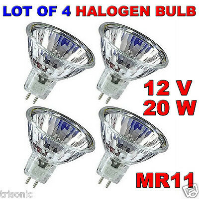 LOT OF 4 BULB HALOGEN LIGHT BULB MR11 CLEAR BI-PIN WIDE BEAM EXN 12 VOLT 20 WATT 12 Volt Clear Bi Pin