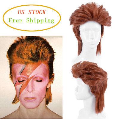 80s Rock Star David Bowie Style Cosplay Fancy Dress Hair Brown Short Pixie Wigs (80s Rock Style)