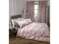 Pink crushed velvet single duvet set bedding linen