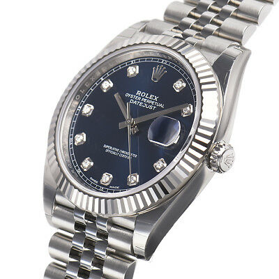 Rolex Datejust 41mm 126334 Fluted Bezel Jubilee Bracelet Blue Diamond Dial Watch