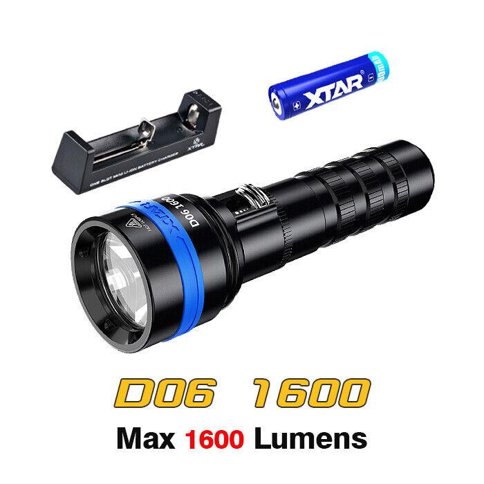 XTAR D26 Scuba Diving LED Flashlight Dive Torch Full Set Kit w// Charger Battery