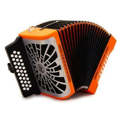NEW Hohner Compadre MODEL COFO FBbEb Accordion, ORANGE & SILVER NEW IN BOX SALE