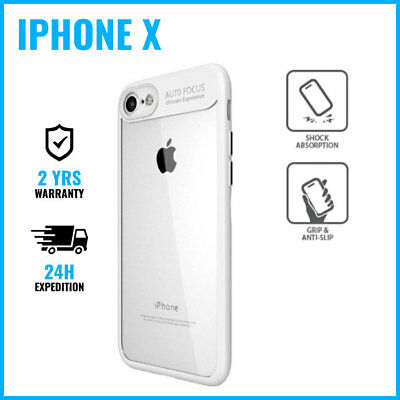 Focus Armor Cover Cas Coque Etui Silicon TPU Hoesje Case Black Fr iPhone X White