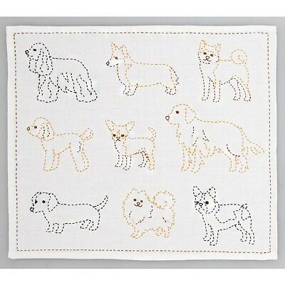 Japanese Embroidery  SASHIKO Kit HOBBYRA HOBBYRE Cut cloth DOG JAPAN