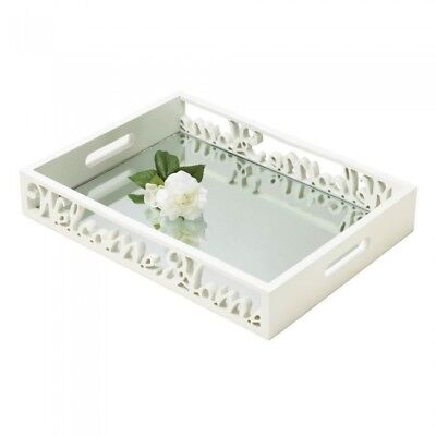 Welcome Home White Mirror Tray Vanity or Dresser Perfume Display