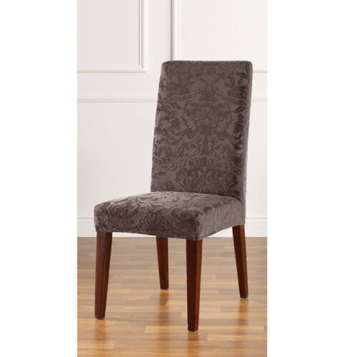 about stretch jacquard damask short dining room chair cover espresso