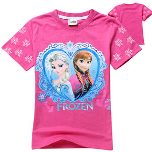 Sweet-Frozen-Elsa-Anna-Princess-Kids-Baby-Girls-Short-Sleeve-Top-T-Shirts-2-3Yrs