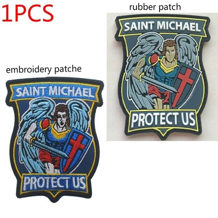 1PCS SAINT MICHAEL PROTECT US badge Embroidery patches PVC rubber Hook Patch Crafts