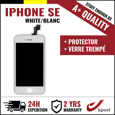 A+ LCD TOUCH SCREEN SCHERM ÉCRAN WHITE BLANC & VERRE TREMPÉ FOR IPHONE SE/5S