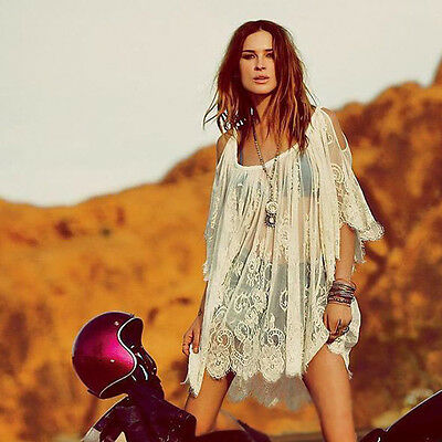 Trendy Vintage Hippie Boho People Embroidered Floral Lace Crochet Mini Dress