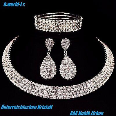 Schmuck Set Collier Armband Ohrringe Party Hochzeit Österreichischen Kristall