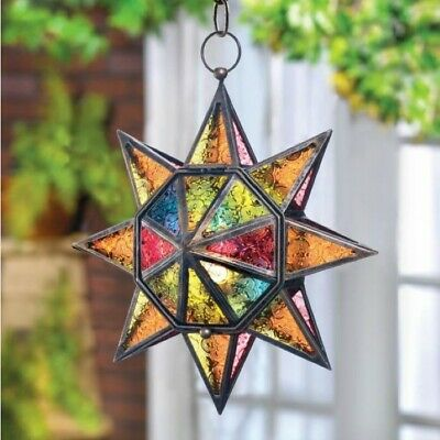 Multi Faceted Star 13in Hanging Pendant Lamp Lantern Candle Holder ()