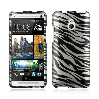 For AT&T HTC ONE MINI Rubberized HARD Case Snap on Phone Cover Silver Zebra
