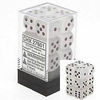 Chessex Dice d6 Sets 16mm Frosted Clear w/ Black Six Sided Die 12 Set CHX 27601](Clear Dice)