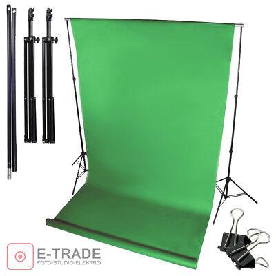 Profi Hintergrund system + Profi GREEN SCREEN Grün Hintergrund 5m + Klammern