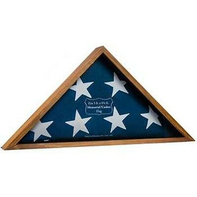 Triangle Flag Case (Memorial Wooden Triangle Box Wooden Oak Military Flag Display Case)