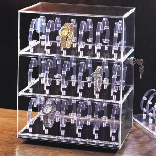 Acrylic Watch Display Stand Rotating Cabinet Showcase Countertop Case 36 Watches