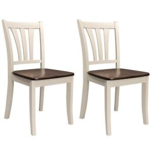 2 or 4 PCS SLAT DINING CHAIRS SOLID WOOD CRM/BRWN WALNUT FINISH