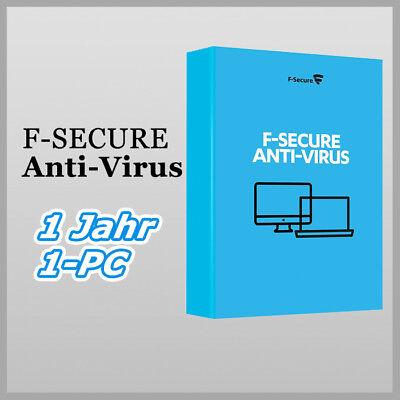 F-Secure Anti-Virus 2019 Deutsch Internet Security Vollversion 1 Jahr / 1 PC gebraucht kaufen  Geltendorf