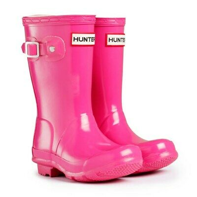 Hunter Original Kids Gloss Wellington Boots Bright Pink Girls Wellies Size UK...