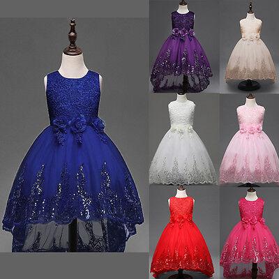Mädchen Fest-kleid für Kinder Geburtstags Kleid Blumenmädchen Party Pailletten