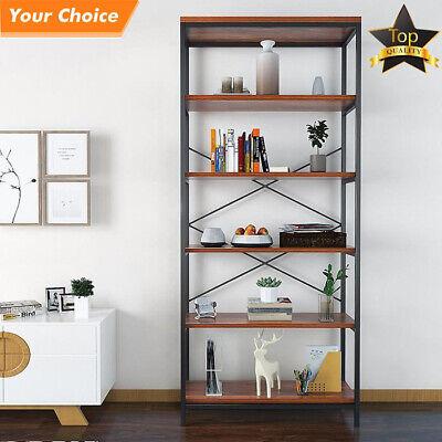 Adjustable 5-Shelf Wood Bookcase Storage Shelving Book Wide Bookshelf Furniture Adjustable Shelf Steel Bookcase