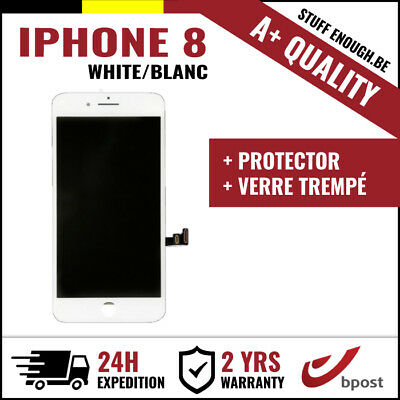 A+ LCD VITRE TACTILE DISPLAY/SCHERM/ÉCRAN WHITE BLANC +VERRE TREMPÉ FOR IPHONE 8
