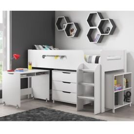 Brand New Dynamo White Cabin Bed - Ladder Can Be Fitted Either Side