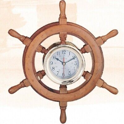 Ships Wheel Captain's Clock, 24
