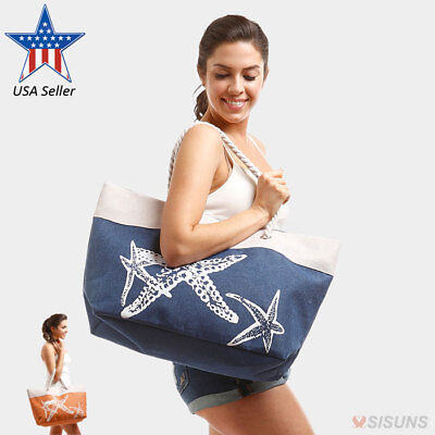 Beach Bags - Large Summer Tote Bags with Zipper Closure Shoulder Bag For Women