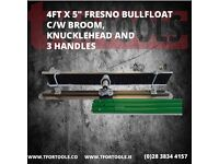 "4ft x 5"" Concrete Fresno Bullfloat C/W Broom, Knucklehead + 3 Poles"