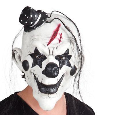 Maske Schwarzer Psycho-Clown, mit Haaren