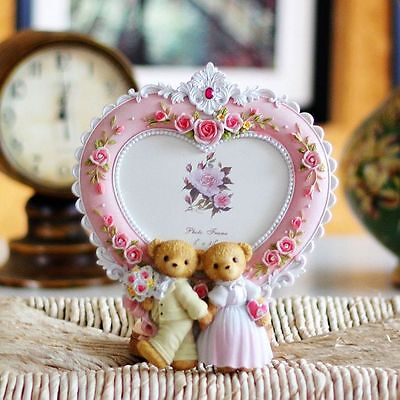 Wedding teddy bear photo frame,heart shaped picture frame,white color ()
