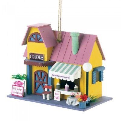 HOME GARDEN DECOR COLORFUL CUPCAKE BAKERY BIRD HOUSE BIRDHOUSE WOOD