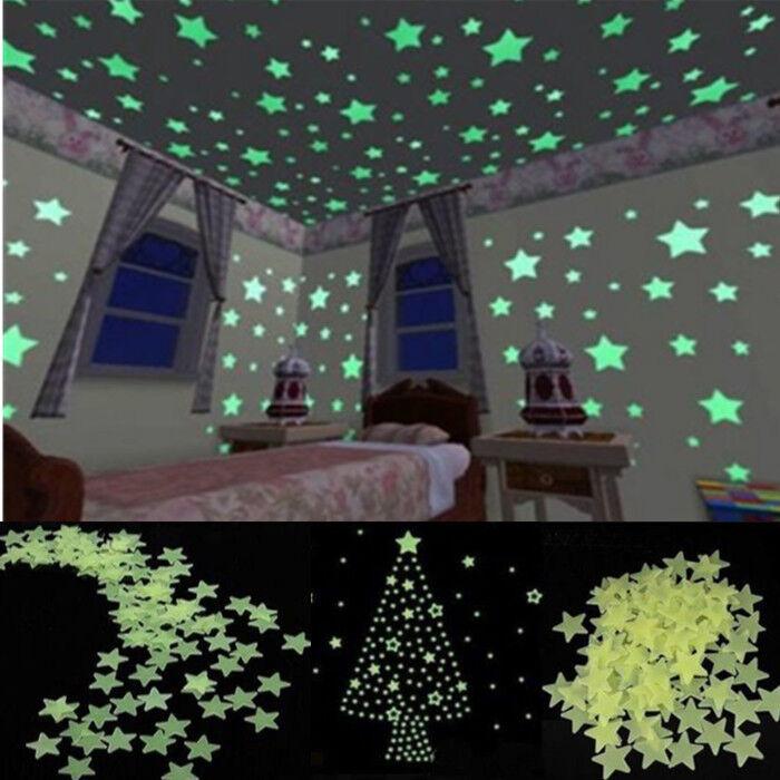 100pcs Home Wall Light Green Glow In The Dark Star