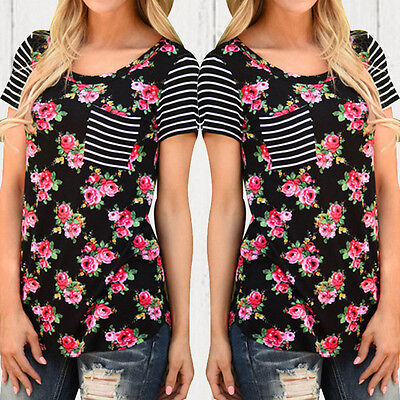 Us Summer Fashion T Shirt Womens Ladies Loose Floral Printed Striped Blouse Tops