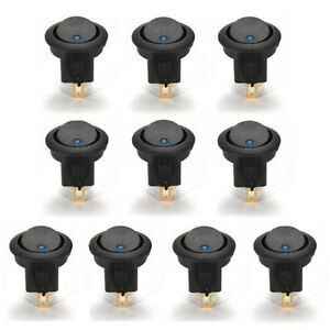 10 x Blue DC 12V 16A LED Dot Light Car Boat Round Switch Rocker On/Off SPST