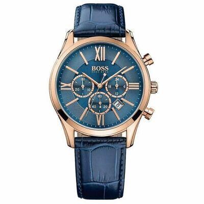 BRAND NEW HUGO BOSS BLUE AMBASSADOR CHRONO STAINLESS STEEL MEN WATCH HB1513320