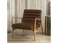Brand New Shoreditch Real Leather Vintage Tan Brown Mid Century Armchair