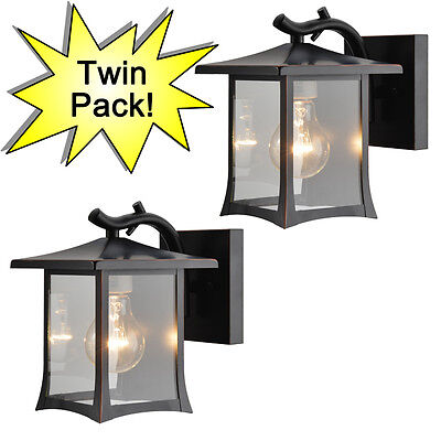 Oil Rubbed Bronze Outdoor Patio/Porch Exterior Light Fixtures Twin Pack :73475