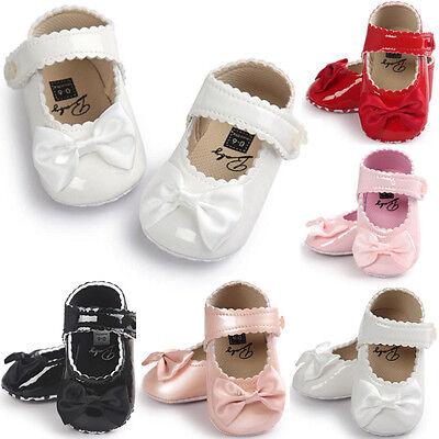 Baby Newborn Girl Bow Anti-slip Leather Crib Shoes Soft Sole Moccasins Prewalker
