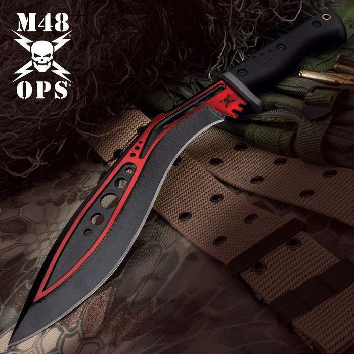 """16"""" M48 Red Tactical Kukri Fixed Blade Knife Machete Bowie Hunting Full Tang"""