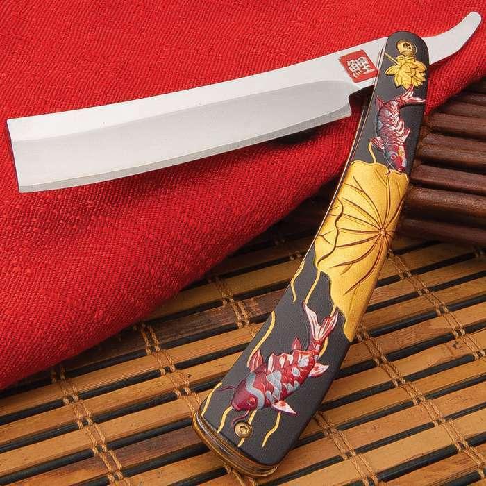 Koi Fish Straight Blade Barber Razor Folding Pocket Knife Shaving Cut Throat