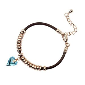 18K-Rose-Gold-Plated-Leather-Genuine-Swarovski-Crystal-Peach-Heart-Bracelet