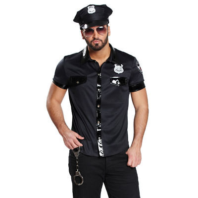 Herren Sexy Cop Kostüme (Herren-Hemd Sexy Polizist, schwarz Polizei Cop USA Sirene Polizeikostüm   )